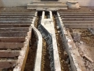 Brickwork under centre aisle slab | Stuart Billington