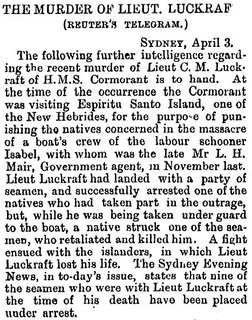 Murder of Lieut. Luckraft 1 | Sydney Evening News